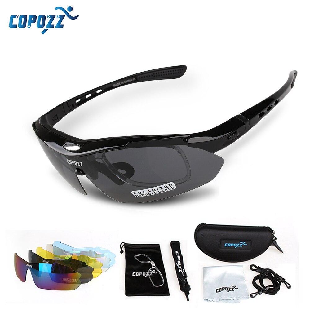 Prix pour Copozz marque polarisées vélo lunettes de pêche en plein air montagne vélo de route vtt vélo lunettes de soleil sport lunettes de soleil myopie 5 lentille