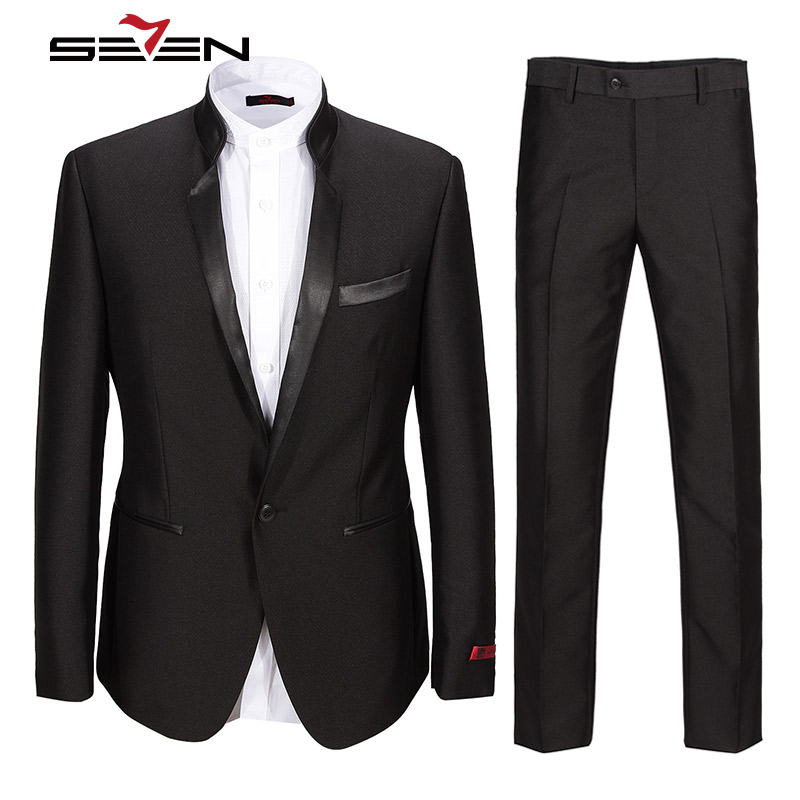 Seven7 Высокое качество Мужская формальная воротник стойка костюм Regular Fit Последние Пальто Пант Дизайн Бизнес Выпускной костюм комплект смоки