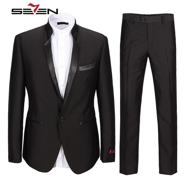 81cdb755d287 Seven7 Высокое качество Мужская формальная воротник-стойка костюм Regular  Fit Последние Пальто Пант Дизайн Бизнес