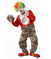 Free Shipping 2014 Hot Sale Funny Clown Costume Clown Cosplay Costume Party For Halloween Clothes Gloves