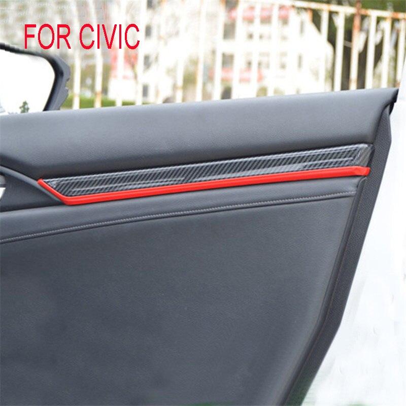 Fit pour Honda Civic 2016 2017 2018 10TH génération ABS placage de voiture intérieur porte panneau décoration bandes revêtement d'habillage 4 pièces/ensemble