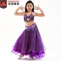 S814A Kids Girls Belly Dance Costume Top Belt Skirt 8 Colors