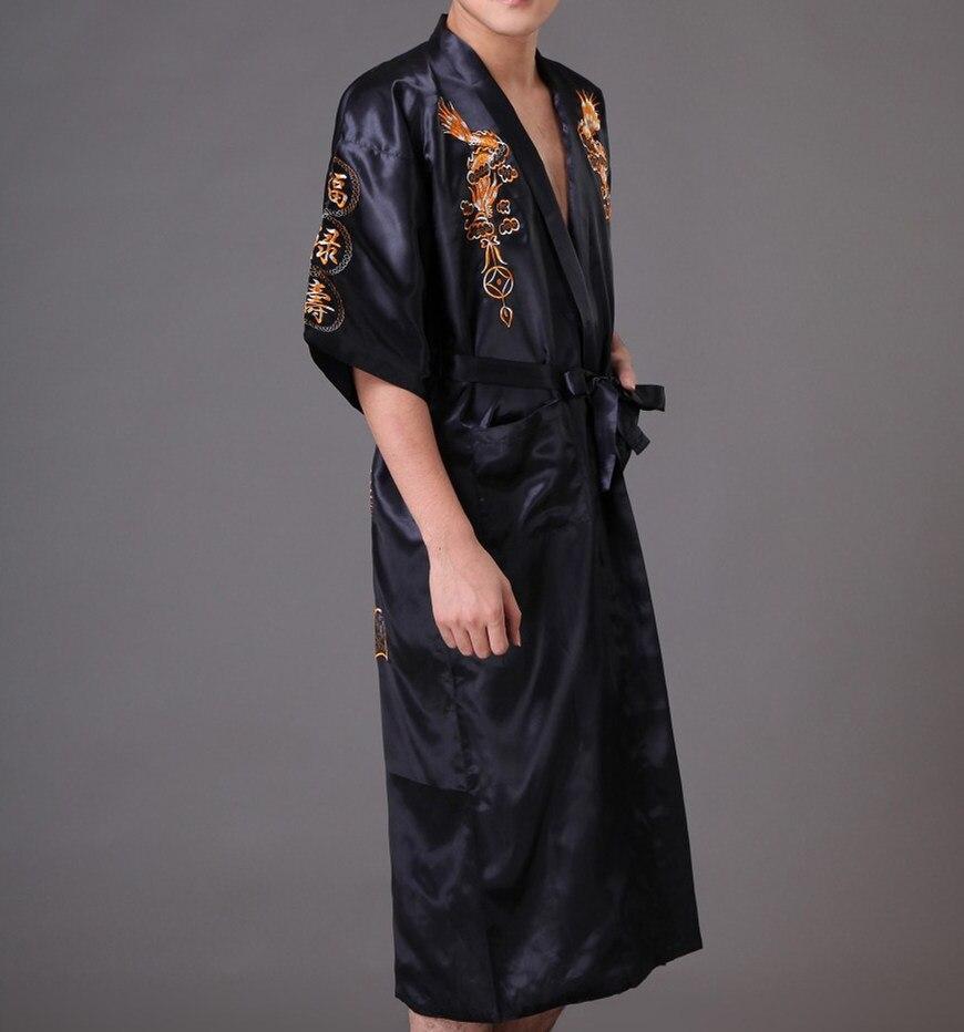 af250e84ee Free Shipping Black Chinese Mens Satin Silk Embroidery Robe Kimono Bath Gown  Dragon Size S M L XL XXL ...