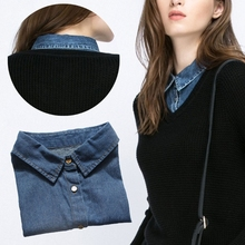 Women Denim Shirt False Collar Detachable Fake Necklace Lapel Shirt Accessories