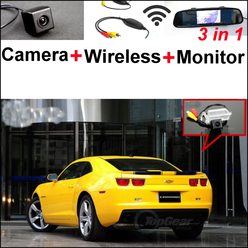 3 in1 Special WiFi Rear View Camera + Wireless Receiver + Mirror Monitor Easy Parking System For Chevrolet Camaro SS 2010~2015 wireless pager system 433 92mhz wireless restaurant table buzzer with monitor and watch receiver 3 display 42 call button