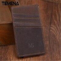Men Money Clips Vintage Genuine Leather Front Pocket Clamp For Money Holder Money Clip Wallet With