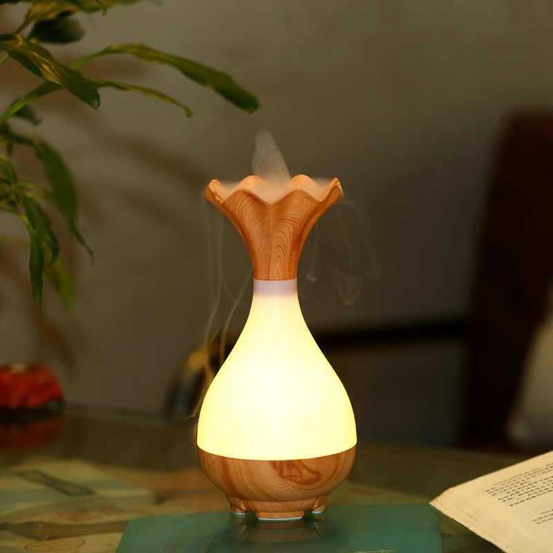 USB ультразвуковой увлажнитель воздуха  ароматерапия Эфирное масло диффузор аромат свет в ночь распыление очиститель деревянная ваза
