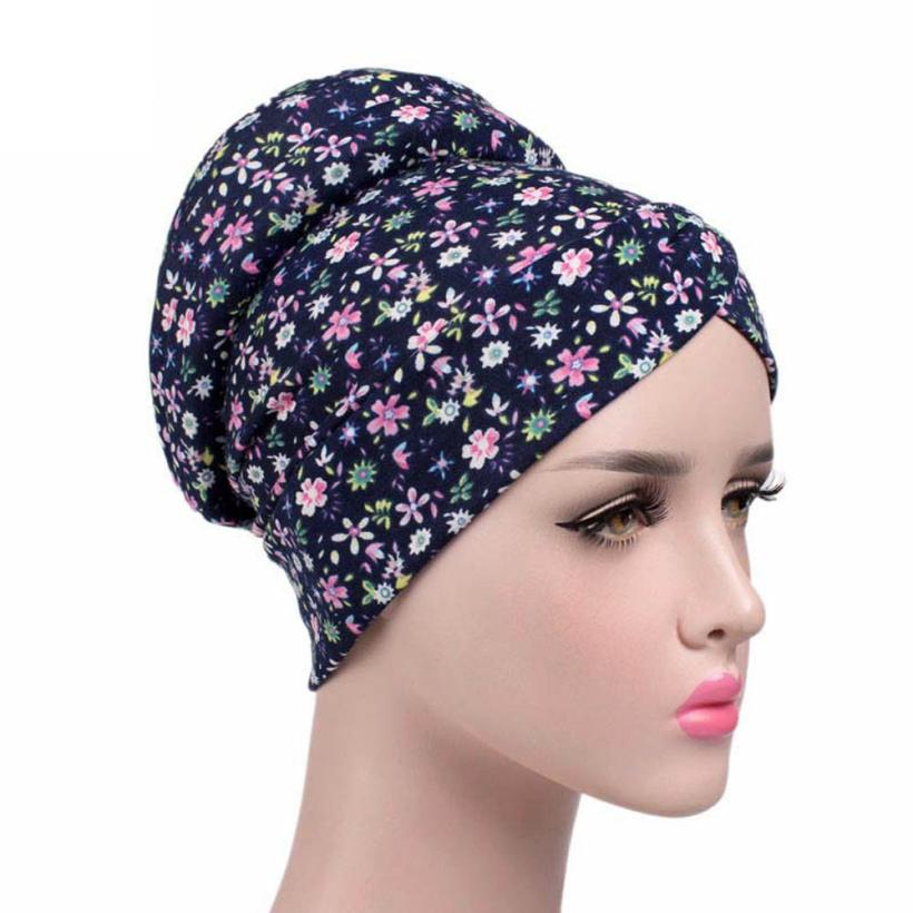 Women New Elastic Cap Turban Muslim Cancer Chemo Hat Beanie Scarf Turban Head Wrap Cap Large Flower Turban Travel Street Take other 16 18 20 22 24 26 28 30 grey hair weave