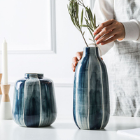 1pc Blue Highlight Flower Vase Minimalist Ceramic Vase Water Planting Container Pot Home Decor Hydroponic Planter Vase