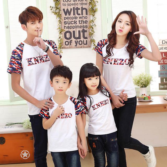 Estilo 2017 de la moda de verano camiseta de algodón padre e hijo madre e hija ropa a juego family clothing t-shirt family look