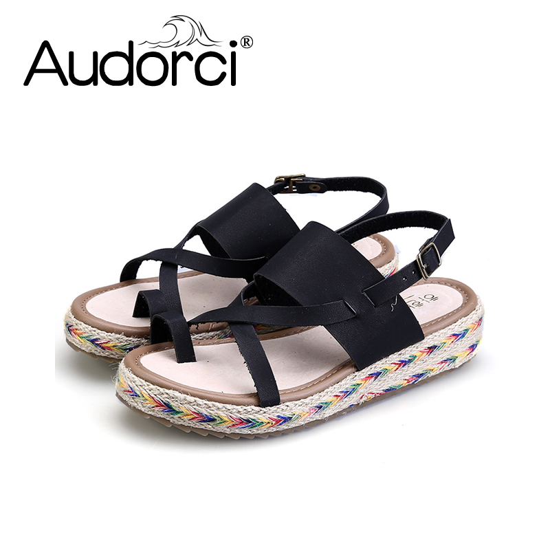 Audorci 2018 Summer Fashion Women Sandals Sweet Flats Comfortable Beach Sandals Flip Flops Casual Summer Shoes Size 34-43 boys girls antislip usb sandals summer cut out comfortable flats beach sandals kids children breathable led shoes with light