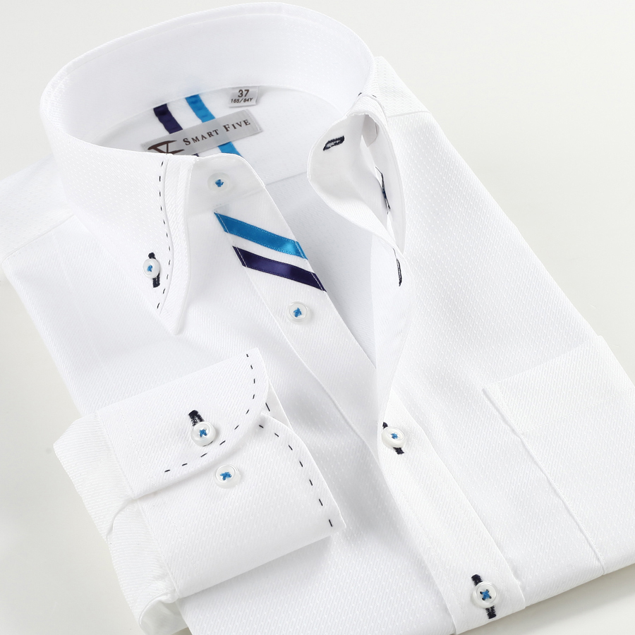 Smartfive White Men Shirt 2016 New Brand-адзенне з доўгім рукавом Бавоўна Камиза Masculina White Slim Fit Shirt Men SFL4K07B