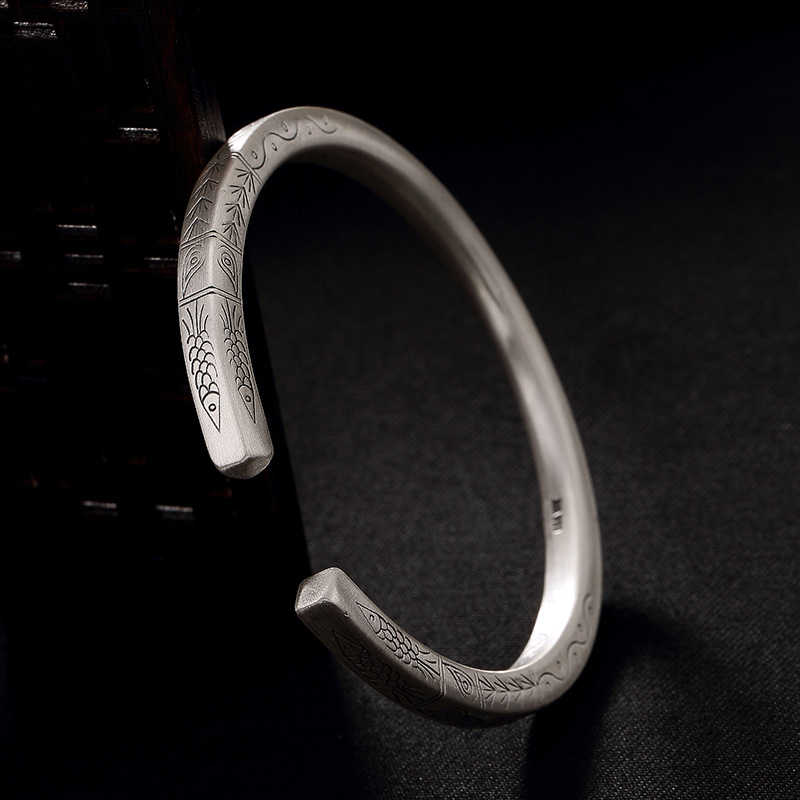 Ancient Ways Is Dumb Light Pattern Of Archaize Personality Joker Ms Openings Wholesale Sterling Silver Bracelet s999 fine silver lotus pisces play lady bracelet wholesale sterling silver folk style ways openings