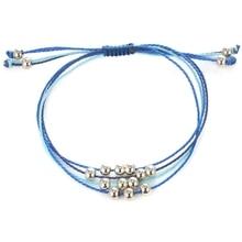 Bohemian Style Simple Rope Woven Beaded Blue Metal Ball Shell Pineapple Bracelet