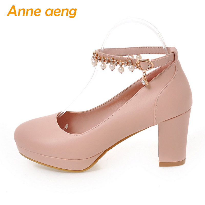 women pumps block heel women shoes platform round toe buckle strap pearls chain Mary Janes sweet ladies shoes pink size 33-43 sweet spaghetti strap color block self tie women s chiffon dress