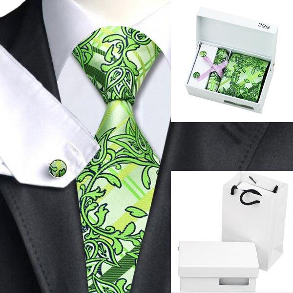 B-299 Lazo Para Hombre Corbata De Seda Floral Verde Amarillo Bolsa de la Caja de Regalo del Pañuelo de Las Mancuernas Establece Lazos Para Los Hombres de Negocios Del Banquete de Boda