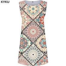 KYKU Graphics Dress Women Flower Party Sundress Colorful 3d Print Mini Ladies Dresses Beautiful Elegant Womens Clothing