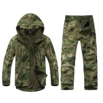 New brand shark skin outdoor hunting camping waterproof windproof warm jacket jacket hoodie TAD soft shell shirt + pants