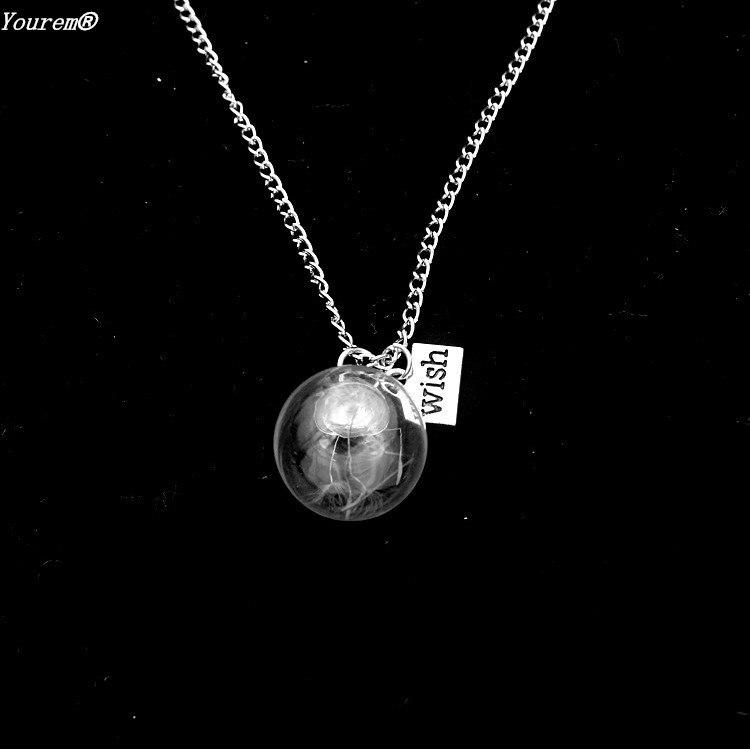 Vintage Cabochon Glass Necklace Silver fashion pendants(love dandelion