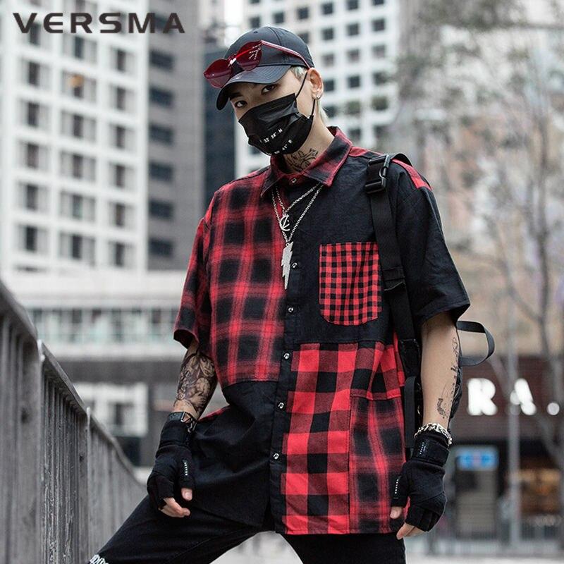 VERSMA Japanese Harajuku Instagram Vintage Plaid Patchwork Shirts Men High Street Hip Hop Oversize Couple Short Sleeve Shirt Men