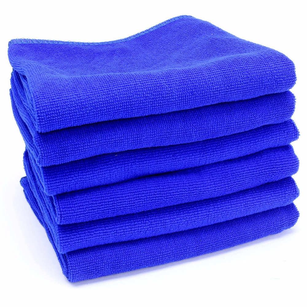 10 x Auto Blue Car Soft Washcloth Microfiber Cleaning Care Cloths Towels Tool