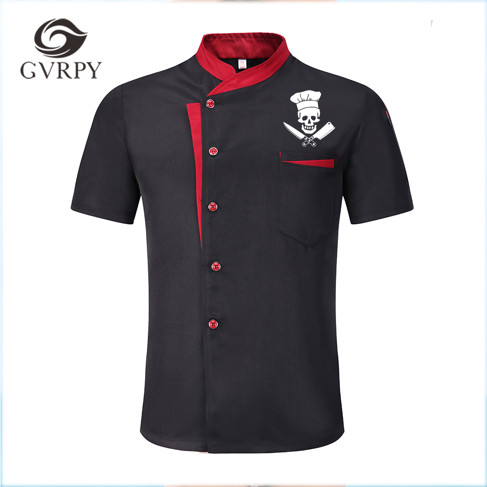 NEW High Quality Funny Skull Printed Unisex Kitchen Cooker Chef Uniforms Bakery Food Service Short Sleeve Breathable Chef Jacket