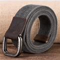 Cotton weaving of the men Genuine Leather Double D-Ring Belt Buckle Casual Belt pure cotton belt jeans Canvas Leather belts
