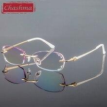 تشاشما الفاخرة الملونة العدسات الماس المشذبة المرأة جودة التيتانيوم نظارات إطار حجر الراين العدسات الأزياء بدون شفة النظارات
