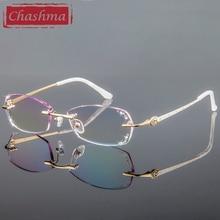 Chashma Lüks Renkli Lensler Elmas Kesilmiş Kadın Kaliteli Titanyum Gözlük Çerçeve Taklidi Lensler Moda Çerçevesiz Gözlük