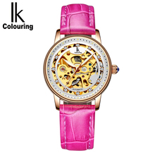 IK Automatic Fashion Top Brand OL Ladies Watch Hollow Transparent Dial Genuine Leather Watch Women Rhinestone Orologio femminile