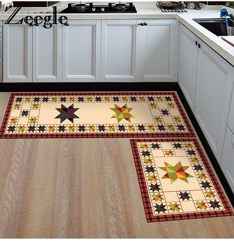 Zeegle Nordic Style Anti-slip Kitchen Mats Area Rug For Living Room Bathroom Floor Mats Flannel Soft Bedroom Carpets Bedside Rug