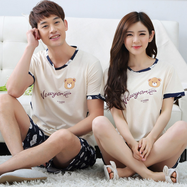 fcbe99d3a04 Pajamas Women Summer Shortsleeve Nightgown Cotton Little Bear Printing  Lovers Sleepwear Men And Women Couple Pajama. Mouse over to ...