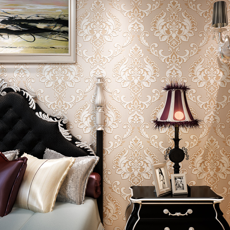 beibehang New European-style 3D TV Wallpaper European-style Large Flower Luxury Damascus Wallpaper Living Room Bedroom Wallpaper beibehang embroidery wallpaper european