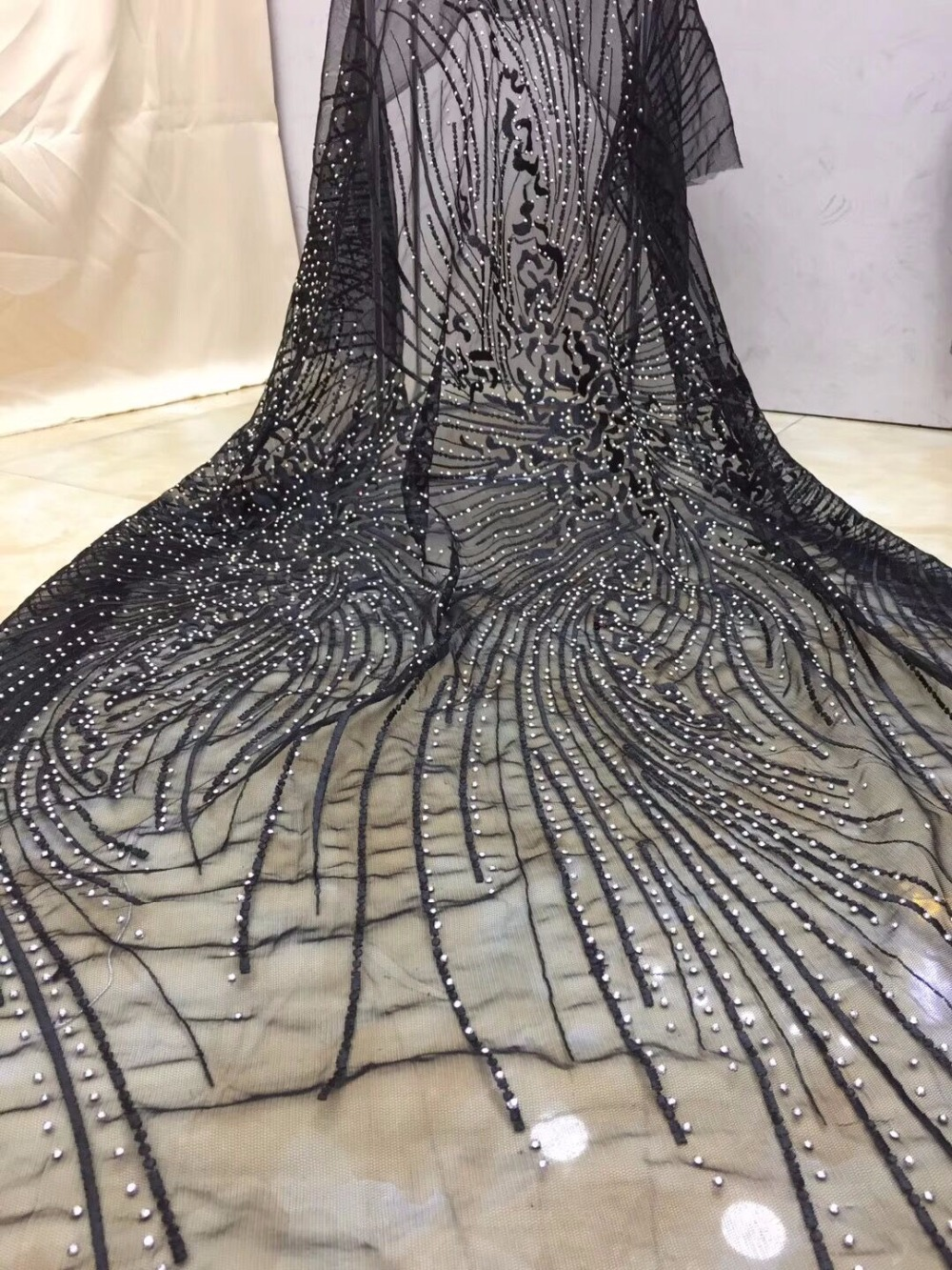 special design Embroidery african lace fabric ZH 81710 French Net Lace Fabric With full stones For