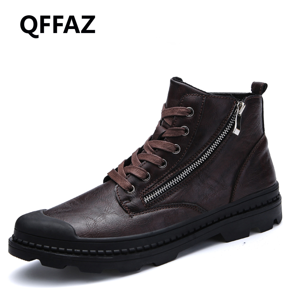 Straightforward Qffaz Men Boots Pu Leather Waterproof Zipper Snow Boots Comfortable Mens Boots Man Black Brown Lace Up Shoes For Winter Autumn To Ensure A Like-New Appearance Indefinably Men's Shoes