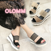 In the summer of 2019, new Korean version womens sandals, slope-heel, high-heeled fish-beaked, open-toed, cool slippe