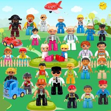 Legoing Duplo Building Blocks Figures Family Worker Police Compatible Legoings Duploed Animal Train DIY Education Toys for Baby(China)