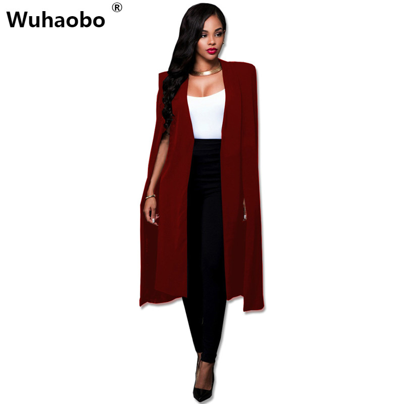 Wuhaobo Plus Size Fashion Cape Coats Long Solid Cloak OL Blazer Jackets The Five Colors Cape Blazers Personality Woman Suit Tops