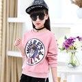 2016 de la moda de invierno nueva Chica tocando fondo camisa de Algodón de alta calidad de productos de Otoño y de La Muchacha de suéter de Los Niños ropa