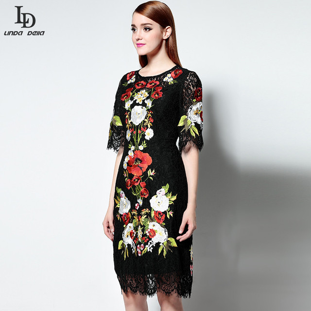 Black Lace Dress Runway Women Knee Length Vintage Bodycon Slim Sheath Gorgeous Lace Embroidery Dress