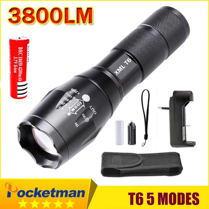2018 HOT E17 XM-L T6 3800 Lumens Zoomable LED Flashlight Torch light + 18650 Rechargeable Battery + charger + holster z10
