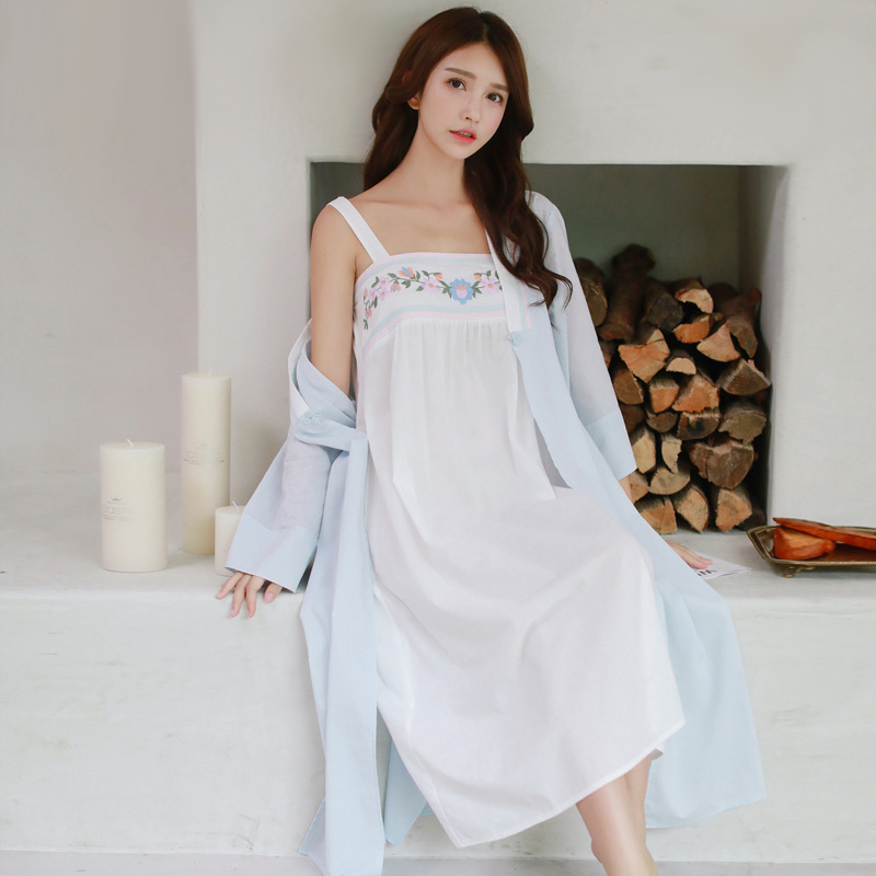 Spring Autumn Women Vintage Pure Cotton Princess Robe and Gown Sets Ladies Casual Sleepwear Women Night wear Pijamas Retro 8097