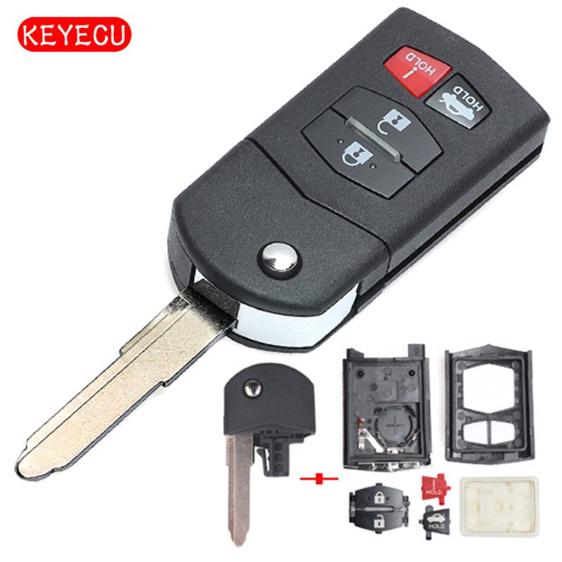 Keyecu Flip Replacement Shell Remote Key Case Fob 4 Button For Mazda 3 5 6 RX8 CX7 CX9