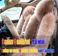 5 unids/set lana de invierno amortiguador de asiento de coche esteras del coche auto de piel fundas para asientos de automóviles, cubiertas del asiento de coche pulvinis universales para vehículo
