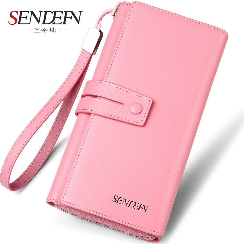 SENDEFN Brand Genuine Cow Leather Women Wallet Long Lady Purse Clutch Card Holder Female Wallets Phone Pocket simline fashion genuine leather real cowhide women lady short slim wallet wallets purse card holder zipper coin pocket ladies