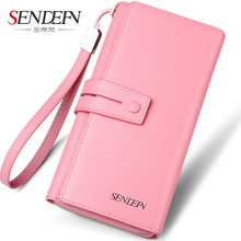 SENDEFN Brand Genuine Cow Leather Women Wallet Long Lady Purse Clutch Card Holder Female Wallets Phone Pocket(China)