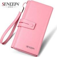 SENDEFN Brand Genuine Cow Leather Women Wallet Long Lady Purse Clutch Card Holder Female Wallets Phone Pocket