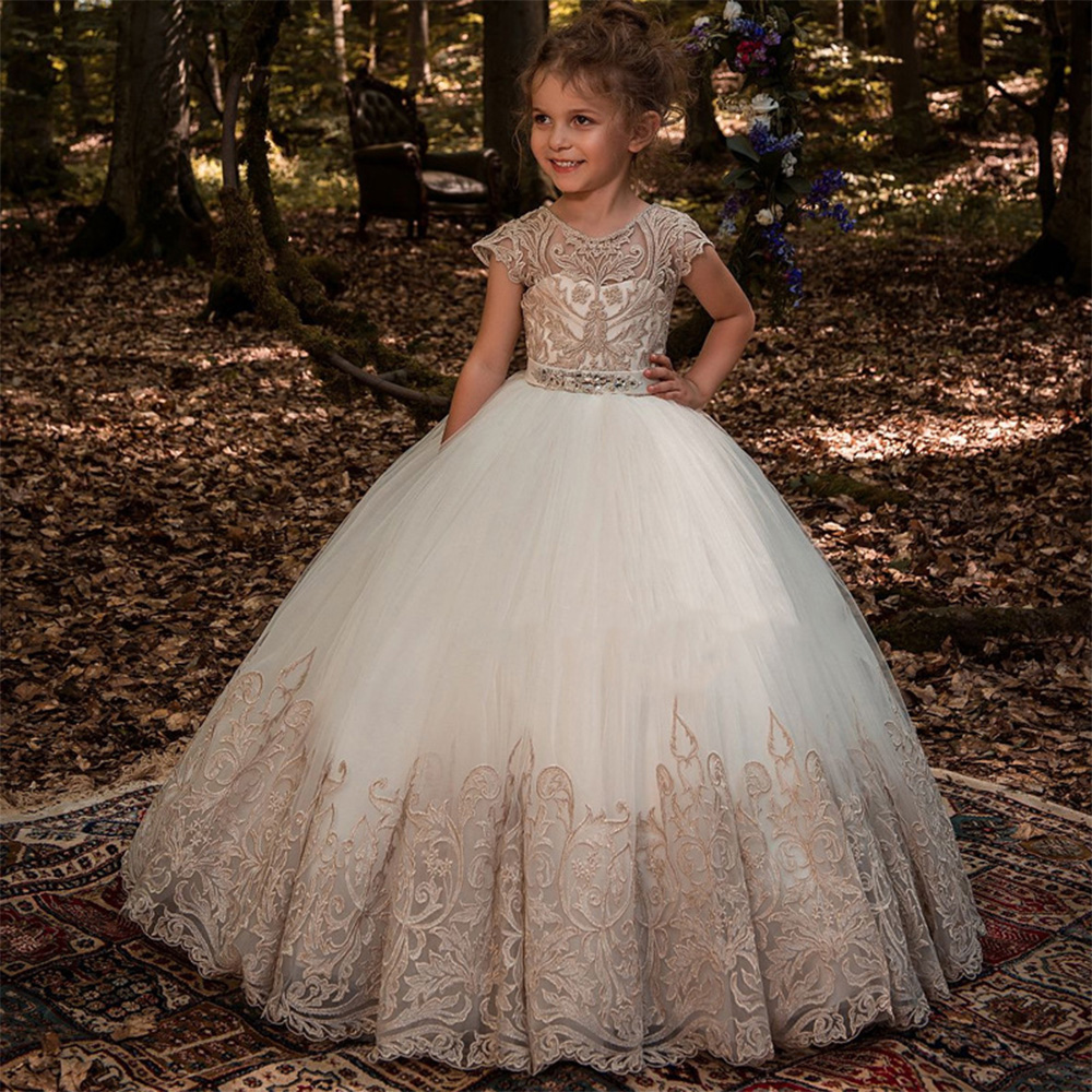 Lovely White Tulle   Flower     Girl     Dresses   Champagne Appliques Bow Kids Beauty Pageant Ball Gowns Vestidos First Communion   Dress