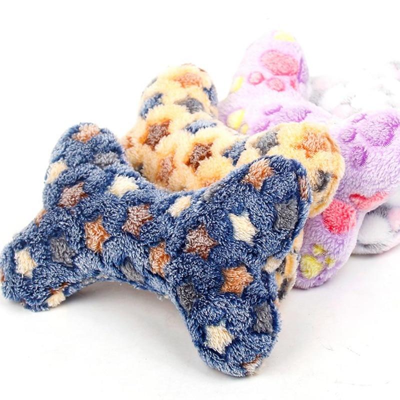 1PCS Cute Bone Shape Sound Squeakers Squeaky Plush Toy Color Random
