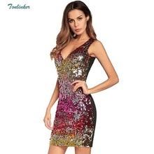 Tonlinker Women 2018 Party Dresses Christmas Womens Sexy V-Neck Tank Sequin Summer Club Midi Dress elegant Celebrity Vestidos
